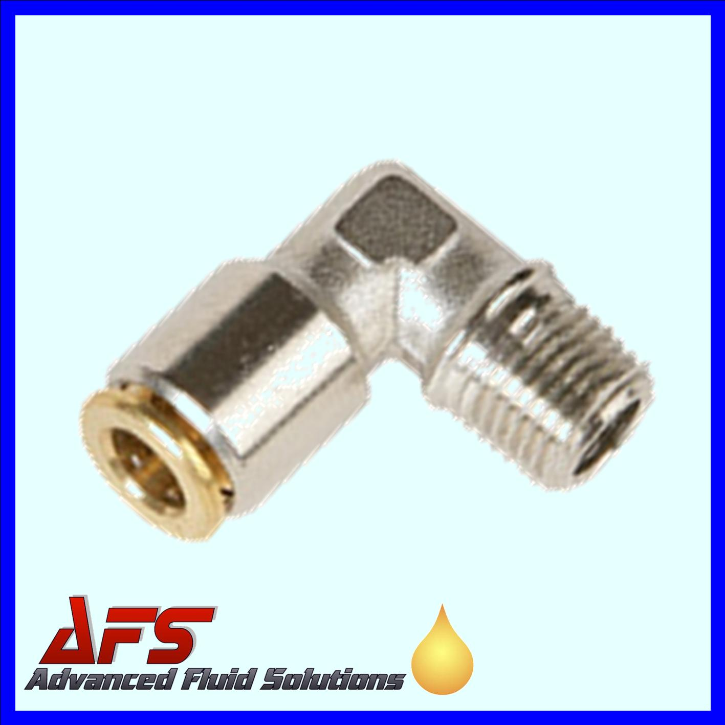 4mm x M8x1 HP 90° Elbow FIXED Brass Push Fit Connector
