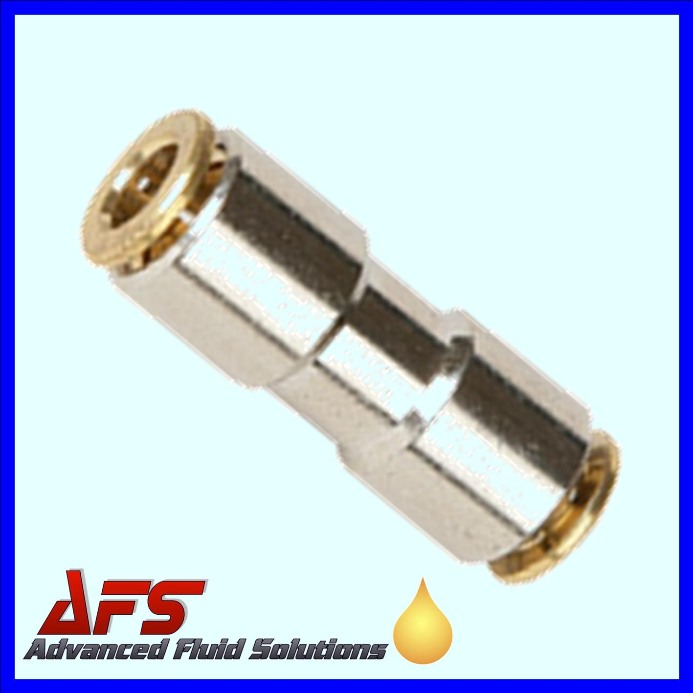 6mm HP Brass Push Fit Straight In-Line Fitting Connector