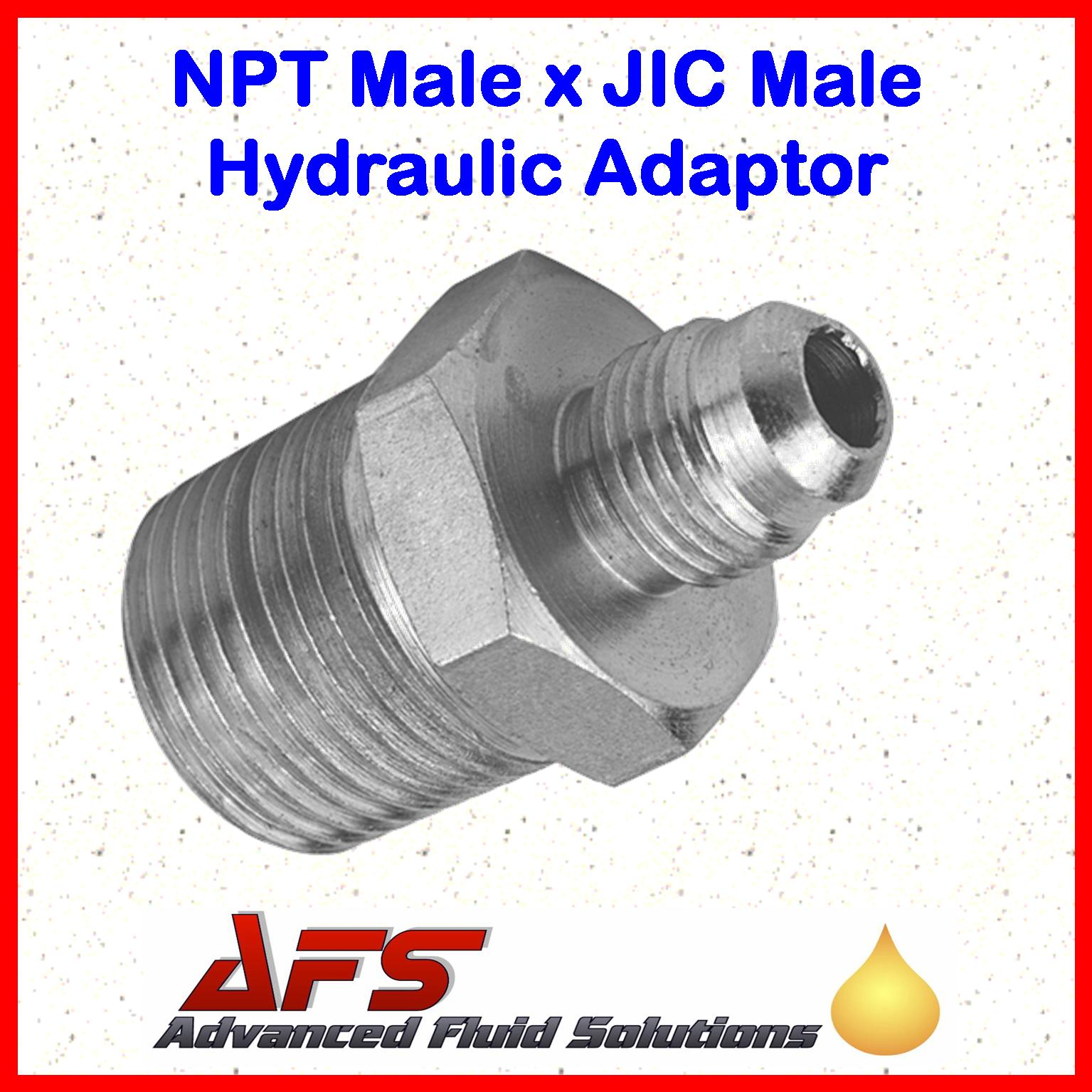 1 8 Npt Male Taper X 7 16 Jic Straight Male Hydraulic Adaptor