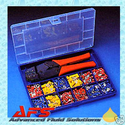 560 Insulated Crimp Terminals Kit Amp Ratchet Tool Blue