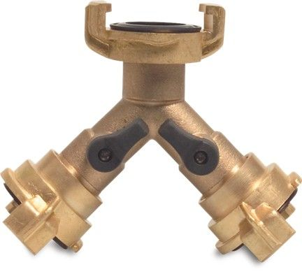 Brass Geka Type Quick Coupling Valved Y Piece Connector
